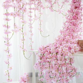 Sakura Cherry Rattan Wedding Arch decoration Vine Artificial flowers Home party decor Silk Ivy wall Hanging Garland Wreath