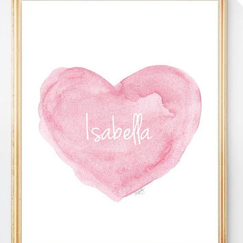 Pink Nursery Art Personalized Name Watercolor Heart Baby Girl 8x10 Shabby Style Nursery Design Shower Gift Custom Name Baby Girl Decor