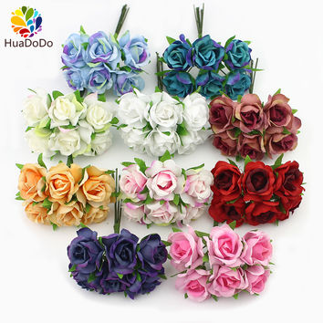 6pcs 2cm silk Rose Artificial flower Bouquet For Wedding Scrapbooking Decorative Wreath DIY Plants craft flowers