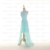 Custom A-line Sweetheart Sleeveless Long back short front Chiffon Pleated Prom Dress Bridesmaid Dress Formal Evening Dress Party Dress 2013