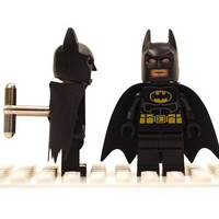 Batman cuff links. Cufflinks made with LEGO(R) bricks. Wedding gift, graduation, groomsman...
