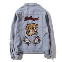 One-nice™ GUCCI Fashion Tiger Embroidery Distressed Denim Cardigan Jacket Coat