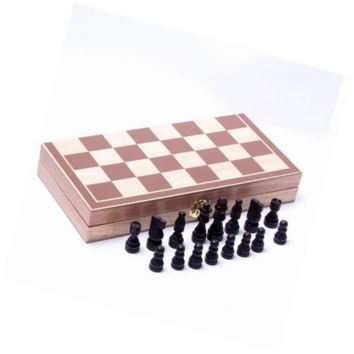 "New Protable Foldable 15"" Standard Wooden Chess Set"