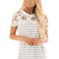 Grey and Ivory Striped Top with Sheer Lace Yoke