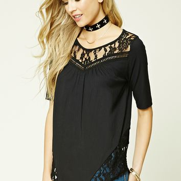 Lace-Panel Ribbed Knit Top