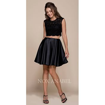 Black Two-Piece Homecoming Dress Open Lace Up Back