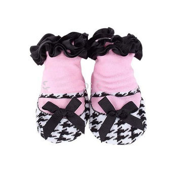 Adorable Black and White Houndstooth and Pink Girls Baby Sock- Non Skid