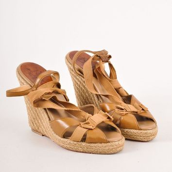 CREYU2C Brown Christian Louboutin Strappy Leather Ribbon Wedge Espadrille Sandals