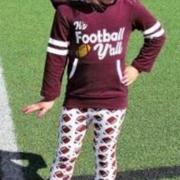 """""""It's Football Y'all"""" 2PC Outfit Hoodie with Football Pants"""