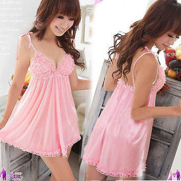 Sexy Lace Women Lingerie Nightwear Dress Underwear Babydoll G-String Sleepwear