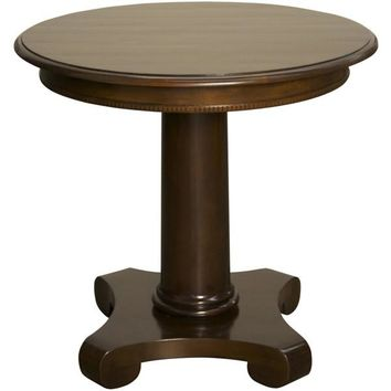 Gainelle Round End Table, Distressed Brown
