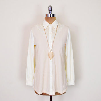 Vintage 70s Yellow Cream Sheer Embroider Lace Yoke Bib Disco Shirt Disco Collar Polyester Shirt Button Up Shirt 70s Shirt 70s Hippie Shirt M