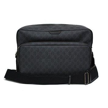 Gucci GG Supreme Canvas Leather Messenger Bag Grey/Black 319812