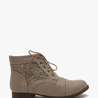 Libby 03 Crochet Trim Lace Up Short Ankle Boot