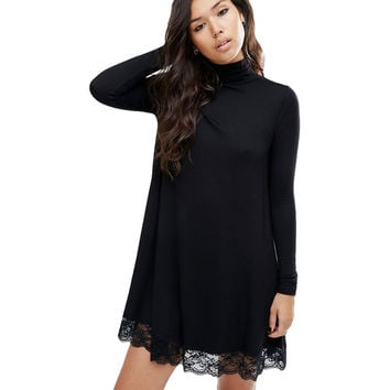 2016 Autumn And Winter New Arrival Women Sexy Black Crochet Turtleneck Lace Long Sleeve Loose Shift Dress Fall Patchwork Dresses