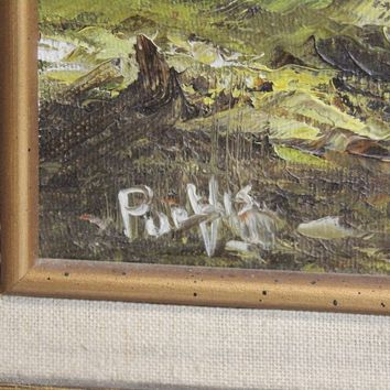 Vintage Landscape Naturalist Oil Painting Mountain Tree Signed Purvis (690)