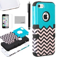 iPhone 5C Case, ULAK 3 in 1 Shield Series Hybrid Wave Patterned Case for Apple iPhone 5C with Soft Silicone Inner Case and Hard PC Outer Case Cover (FOLLOW THE SKY/Black)