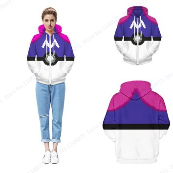 Master Ball Hoody Sweatshirt Women Zipper Thicken Skateboarding Hoodie Winter Fleece Jacket Pokemon Go Coat Purple White Sweater