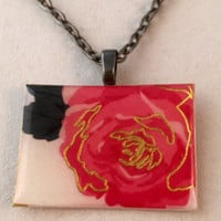 pink and gold rose necklace.  Resin square flower necklace, metallic gold and pink rose necklace.  Square flower pendant on silver chain.