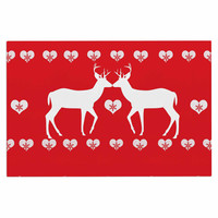 "Suzanne Carter ""Christmas Deer 2"" Holiday Pattern Decorative Door Mat"