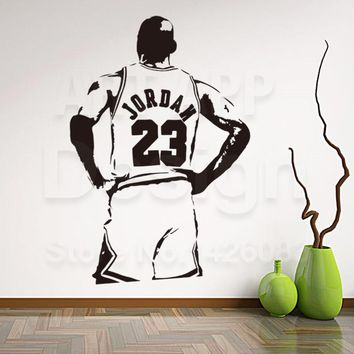 New art design Jordan home decoration vinyl basketball player Michael wall Sticker Removable house decor NBA sports room decals