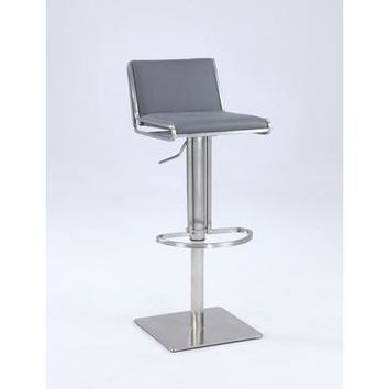 Chintaly 0896 Slanted Backrest Contemporary Pneumatic Stool In Gray