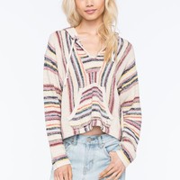 Billabong Baja Crop Womens Poncho Sweater White Combo  In Sizes