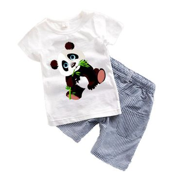 2017 Baby boys clothes Summer Toddler boy clothing sets Cartoon Children clothes Kids Costume Panda Dinosaur Boys clothing T7