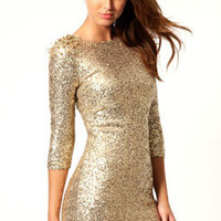 Gemma All Over Sequin Stud Shoulder Bodycon Dress