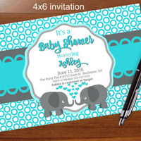 Popular elephant baby shower invitation,blue and gray, blue and grey, printable, shower, social media, facebook Elephant,zebra,giraffe