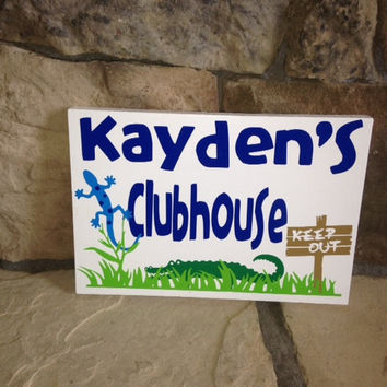 Personalized Wooden Playhouse clubhouse Playroom Sign