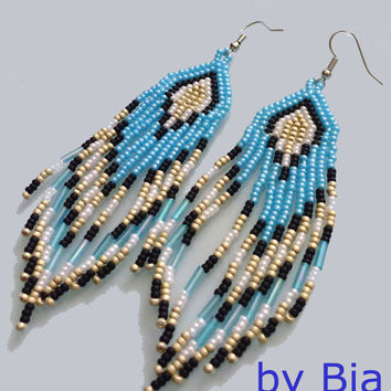 ON SALE Native Beadwork Native American Earrings Jewelry Something Blue Handmade Seed Beaded BLUE Extra Long Beadwork