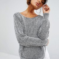 Daisy Street Oval Hem Jumper In Loose Knit