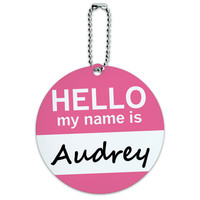 Audrey Hello My Name Is Round ID Card Luggage Tag