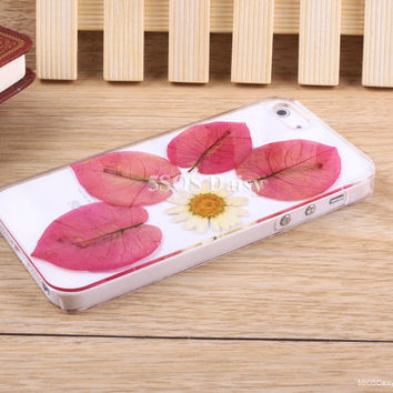 Pressed Flower daisy iPhone 5 case, iPhone 4 case, iPhone 4s case, iPhone 5s case, iPhone 5c case, Galaxy S4 S5 Note 3 - 01017-6