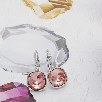 Rhodium Layered Women Leverback Earring, with Rose Peach Swarovski Crystals, by Folks Jewelry