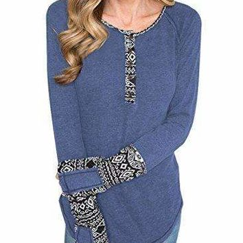 BLENCOT Women's Long Sleeve Floral Printed Casual Flare Henley Shirts Tunics Tops-Blue Small