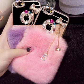 handmade rabbits fur iphone 7 7plus iphone 6s 6 plus case with diamond gift box 2