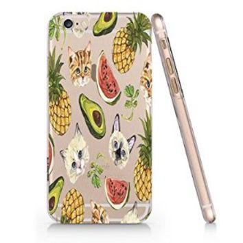 Watermelon Cat Pineapple Pattern Slim Iphone 6 Case, Clear Iphone 6 Case Plastic Hard Case Unique Design-Quindyshop (AMSL37)