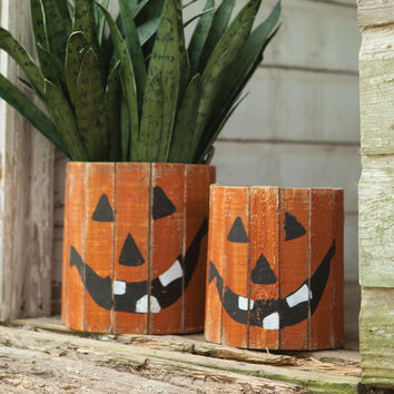 Set of 2 Round Wooden Jack-O-Lantern Planters 2