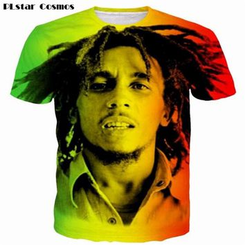 PLstar Cosmos Reggae Star Bob Marley Prints tshirts Men Women Hip Hop Rock Tees Tops t shirts Male Female Hipster 3D t shirt