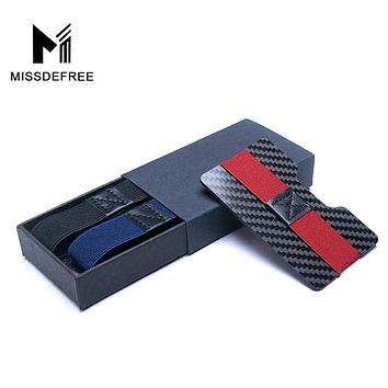 Carbon Fiber RFID Blocking Bills Money Clip Credit Card Protection Holder Slim Wallets for Men Minimalist Simple Small Purse