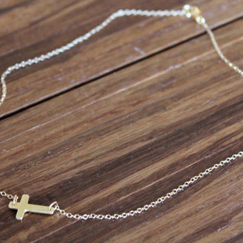 Sideways Cross Necklace // Gold or Silver