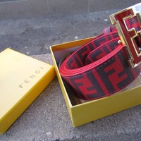 Fendi leather designer red  luxury belt with box 30 - 38