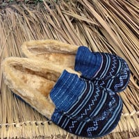 Men's Slippers Tribal Hmong Embroidery and Batik Plush Lined Gift