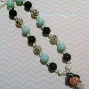 Princess Jasmine necklace, bubble gum necklace, toddler chunky necklace, baby chunky necklace, ribbon chunky necklace