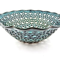 Teal blue fruit bowl, modern home decor- In stock FB091B
