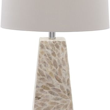 Gardner Contemporary Table Lamp Shell Finish Beige