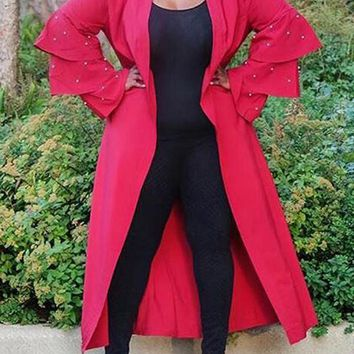 New Red Patchwork Pearl Cascading Ruffle Long Sleeve Casual Cardigan Coat