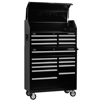 41 in. 16-Drawer Tool Chest and Cabinet Combo Black